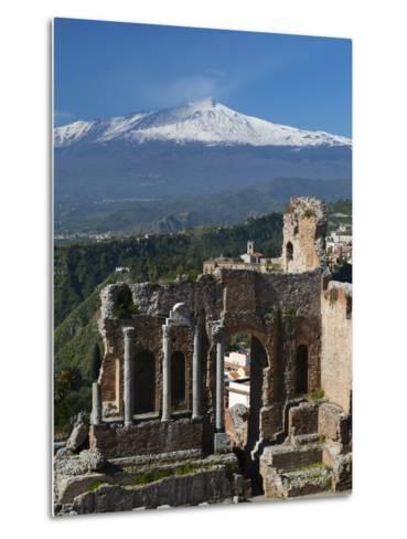 The Greek Amphitheatre and Mount Etna, Taormina, Sicily, Italy, Europe-Stuart Black-Metal Print