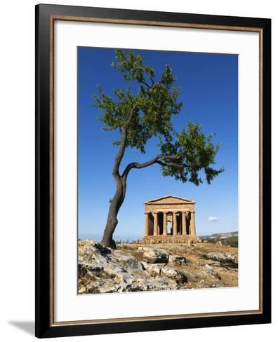 Tempio Di Concordia (Concord) and Almond Tree, Valle Dei Templi, UNESCO World Heritage Site, Agrige-Stuart Black-Framed Art Print