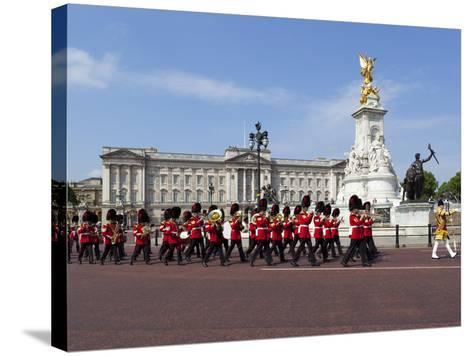 Band of the Coldstream Guards Marching Past Buckingham Palace During the Rehearsal for Trooping the-Stuart Black-Stretched Canvas Print