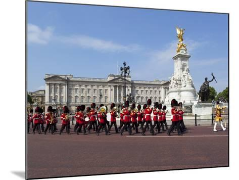Band of the Coldstream Guards Marching Past Buckingham Palace During the Rehearsal for Trooping the-Stuart Black-Mounted Photographic Print