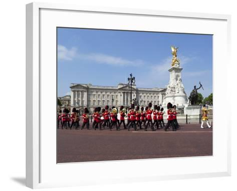 Band of the Coldstream Guards Marching Past Buckingham Palace During the Rehearsal for Trooping the-Stuart Black-Framed Art Print