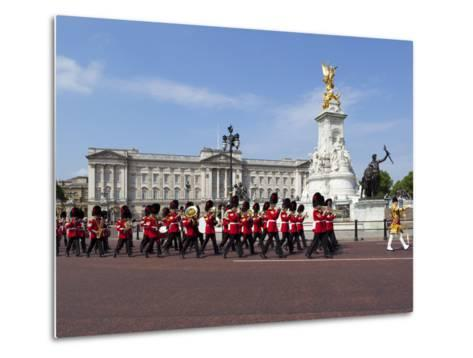 Band of the Coldstream Guards Marching Past Buckingham Palace During the Rehearsal for Trooping the-Stuart Black-Metal Print