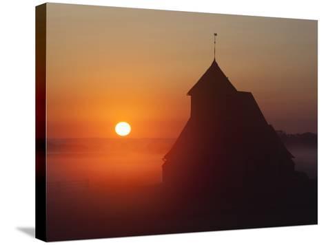 Fairfield Church at Sunrise, Romney Marsh, Near Rye, Kent, England, United Kingdom, Europe-Stuart Black-Stretched Canvas Print