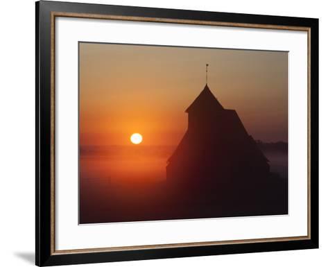 Fairfield Church at Sunrise, Romney Marsh, Near Rye, Kent, England, United Kingdom, Europe-Stuart Black-Framed Art Print