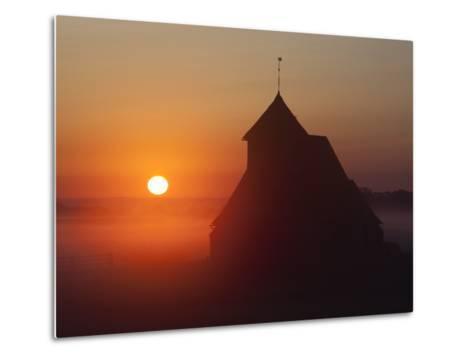 Fairfield Church at Sunrise, Romney Marsh, Near Rye, Kent, England, United Kingdom, Europe-Stuart Black-Metal Print