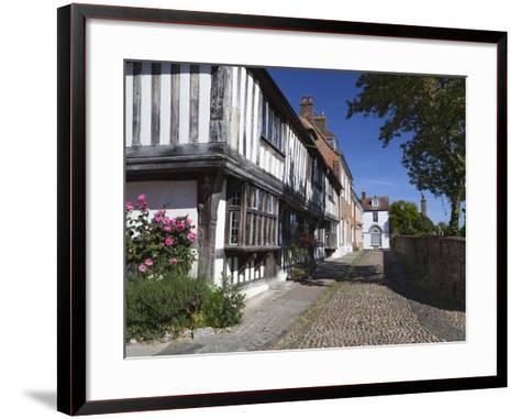 Cobbled Street and Old Houses on Church Square, Rye, East Sussex, England, United Kingdom, Europe-Stuart Black-Framed Art Print