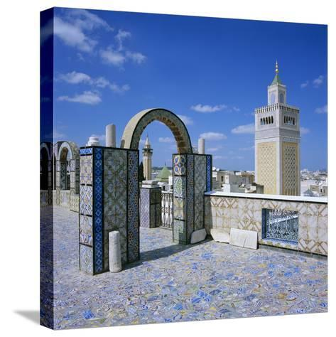 View over City and Great Mosque from Tiled Roof Top, Tunis, Tunisia, North Africa, Africa-Stuart Black-Stretched Canvas Print