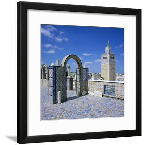 View over City and Great Mosque from Tiled Roof Top, Tunis, Tunisia, North Africa, Africa-Stuart Black-Framed Art Print