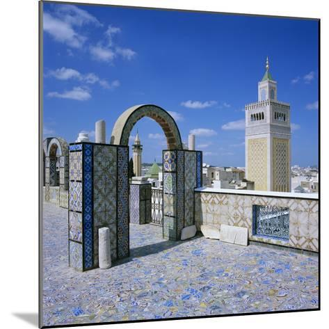 View over City and Great Mosque from Tiled Roof Top, Tunis, Tunisia, North Africa, Africa-Stuart Black-Mounted Photographic Print
