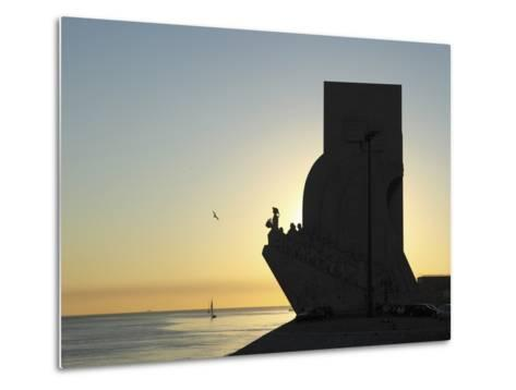 Sundown at the Monument to the Discoveries (Padrao Dos Descobrimentos) by the River Tagus (Rio Tejo-Stuart Forster-Metal Print