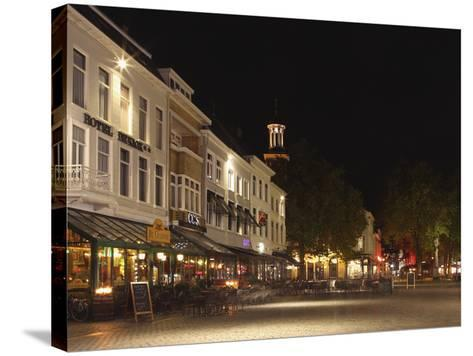 Cafes and Restaurants at the Grote Markt (Big Market) Square at Night, Breda, Noord-Brabant, Nether-Stuart Forster-Stretched Canvas Print