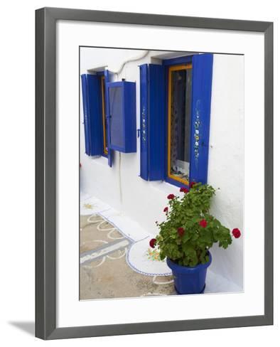 Blue Shutters, Plaka, Old Village, Milos, Cyclades Islands, Greek Islands, Greece, Europe-Tuul-Framed Art Print