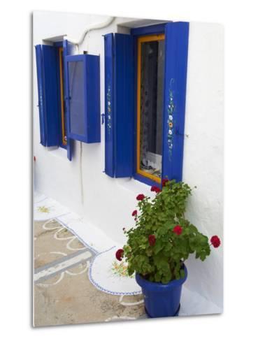 Blue Shutters, Plaka, Old Village, Milos, Cyclades Islands, Greek Islands, Greece, Europe-Tuul-Metal Print