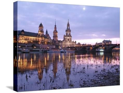 River Elbe, Skyline with Bruhlsche Terrasse, Hofkirche and Semper Opera, Dresden, Saxony, Germany, -Hans Peter Merten-Stretched Canvas Print