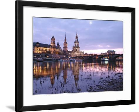 River Elbe, Skyline with Bruhlsche Terrasse, Hofkirche and Semper Opera, Dresden, Saxony, Germany, -Hans Peter Merten-Framed Art Print