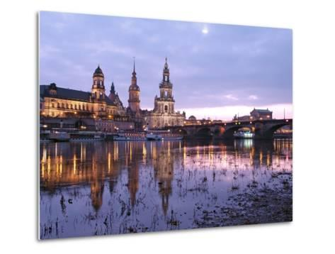 River Elbe, Skyline with Bruhlsche Terrasse, Hofkirche and Semper Opera, Dresden, Saxony, Germany, -Hans Peter Merten-Metal Print
