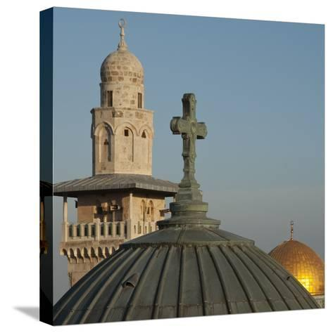 Ecce Homo Dome, Minaret and Dome of the Rock, Jerusalem, Israel, Middle East-Eitan Simanor-Stretched Canvas Print