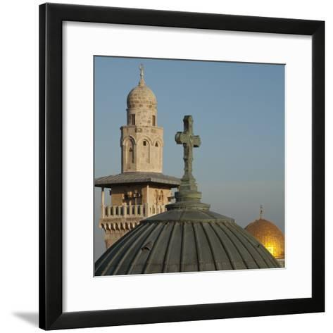 Ecce Homo Dome, Minaret and Dome of the Rock, Jerusalem, Israel, Middle East-Eitan Simanor-Framed Art Print