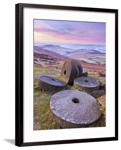 Stanage Edge Wheelstones (Millstones) and Frosty Winter Moorland Sunrise, Peak District National Pa-Neale Clark-Framed Art Print