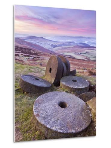 Stanage Edge Wheelstones (Millstones) and Frosty Winter Moorland Sunrise, Peak District National Pa-Neale Clark-Metal Print