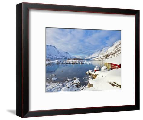 Snow Covered Mountains, Boathouse and Moorings in Norwegian Fjord Village of Ersfjord, Kvaloya Isla-Neale Clark-Framed Art Print