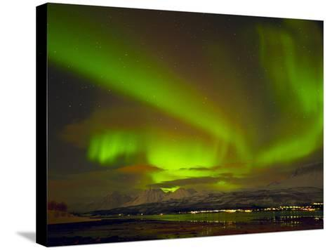 Aurora Borealis (Northern Lights) Seen over the Lyngen Alps, from Sjursnes, Ullsfjord, Troms, North-Neale Clark-Stretched Canvas Print