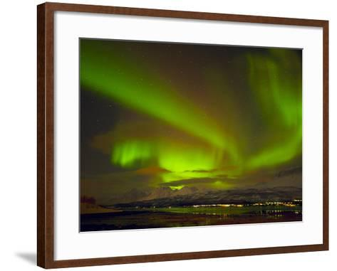 Aurora Borealis (Northern Lights) Seen over the Lyngen Alps, from Sjursnes, Ullsfjord, Troms, North-Neale Clark-Framed Art Print