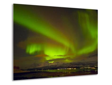 Aurora Borealis (Northern Lights) Seen over the Lyngen Alps, from Sjursnes, Ullsfjord, Troms, North-Neale Clark-Metal Print