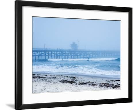 San Clemente Pier with Surfers on a Foggy Day, California, United States of America, North America-Mark Chivers-Framed Art Print