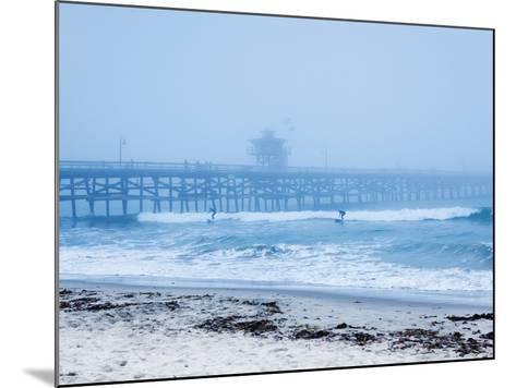 San Clemente Pier with Surfers on a Foggy Day, California, United States of America, North America-Mark Chivers-Mounted Photographic Print