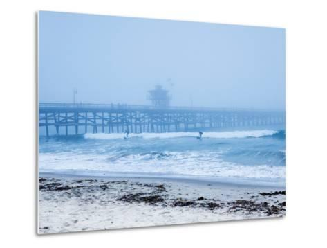 San Clemente Pier with Surfers on a Foggy Day, California, United States of America, North America-Mark Chivers-Metal Print