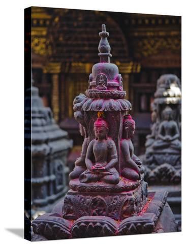 Buddha Statue at Swayambunath Temple, UNESCO World Heritage Site, Kathmandu, Nepal, Asia-Mark Chivers-Stretched Canvas Print