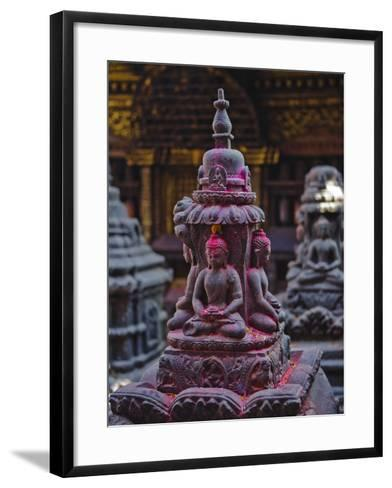 Buddha Statue at Swayambunath Temple, UNESCO World Heritage Site, Kathmandu, Nepal, Asia-Mark Chivers-Framed Art Print