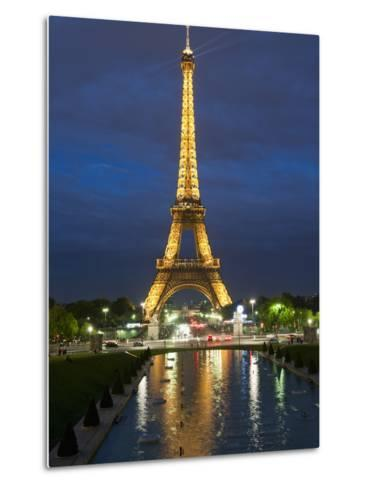 Eiffel Tower and Reflection at Twilight, Paris, France, Europe-Richard Nebesky-Metal Print