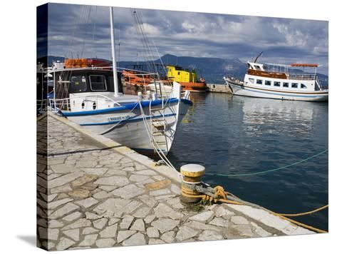 Fishing Boats in Corfu, Ionian Islands, Greek Islands, Greece, Europe-Richard Cummins-Stretched Canvas Print