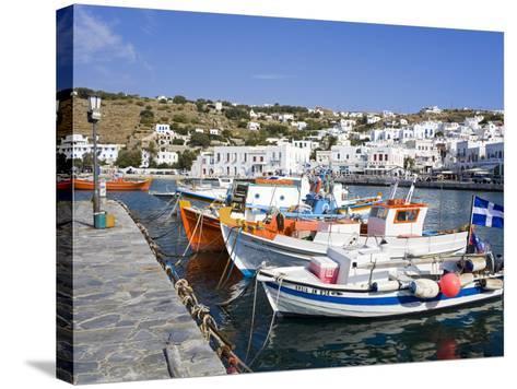 Fishing Boats in Mykonos Town, Island of Mykonos, Cyclades, Greek Islands, Greece, Europe-Richard Cummins-Stretched Canvas Print