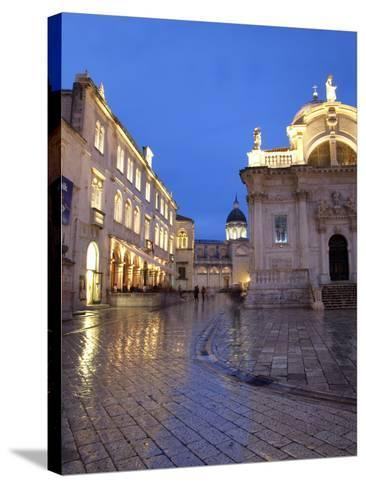 St. Blaise Church and Cathedral at Night, Old Town, UNESCO World Heritage Site, Dubrovnik, Croatia,-Martin Child-Stretched Canvas Print