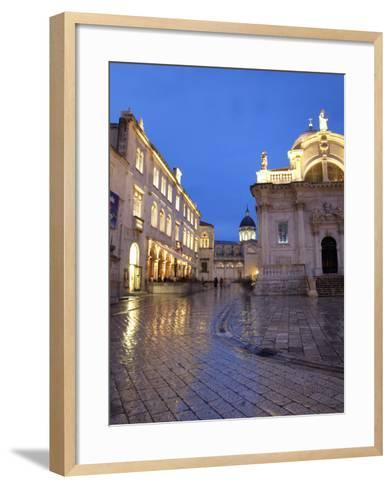 St. Blaise Church and Cathedral at Night, Old Town, UNESCO World Heritage Site, Dubrovnik, Croatia,-Martin Child-Framed Art Print