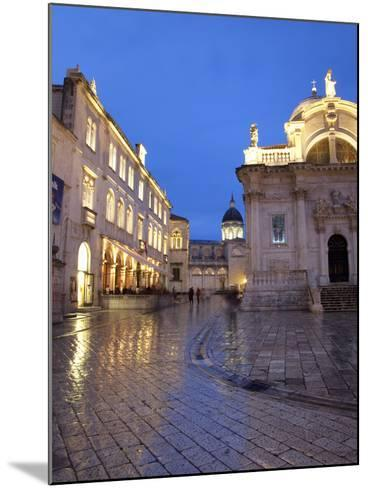 St. Blaise Church and Cathedral at Night, Old Town, UNESCO World Heritage Site, Dubrovnik, Croatia,-Martin Child-Mounted Photographic Print