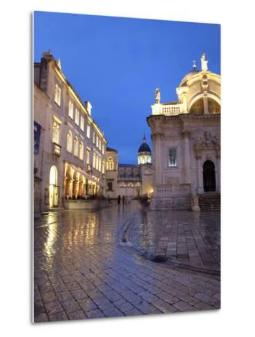 St. Blaise Church and Cathedral at Night, Old Town, UNESCO World Heritage Site, Dubrovnik, Croatia,-Martin Child-Metal Print