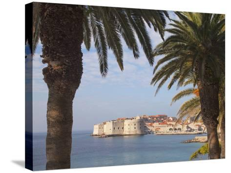 Old Town Through Palm Trees, Dubrovnik, Croatia, Europe-Martin Child-Stretched Canvas Print