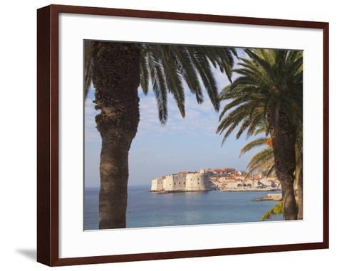 Old Town Through Palm Trees, Dubrovnik, Croatia, Europe-Martin Child-Framed Art Print