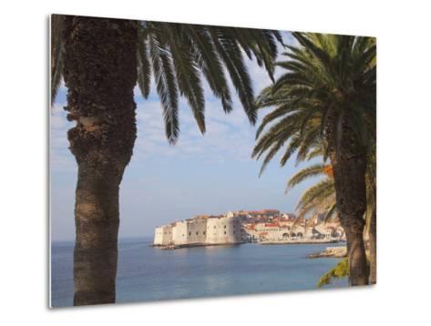Old Town Through Palm Trees, Dubrovnik, Croatia, Europe-Martin Child-Metal Print