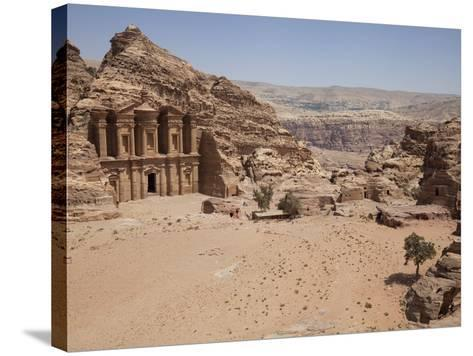 The Facade of the Monastery Carved into the Red Rock at Petra, UNESCO World Heritage Site, Jordan, -Martin Child-Stretched Canvas Print