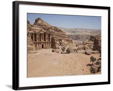 The Facade of the Monastery Carved into the Red Rock at Petra, UNESCO World Heritage Site, Jordan, -Martin Child-Framed Art Print