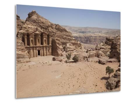 The Facade of the Monastery Carved into the Red Rock at Petra, UNESCO World Heritage Site, Jordan, -Martin Child-Metal Print
