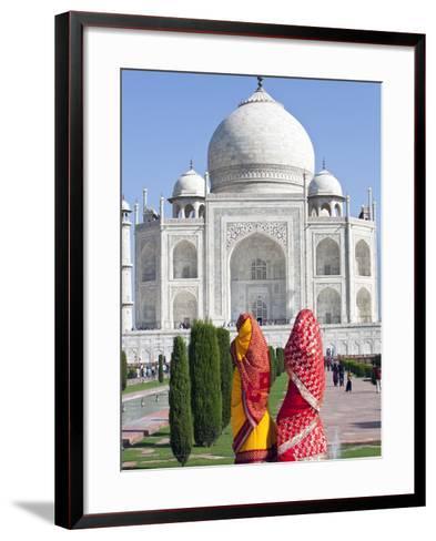 Women in Colourful Saris at the Taj Mahal, UNESCO World Heritage Site, Agra, Uttar Pradesh State, I-Gavin Hellier-Framed Art Print