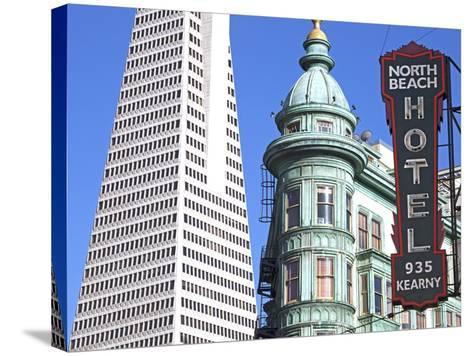 Trans America Building and Victorian Architecture, San Francisco, California, United States of Amer-Gavin Hellier-Stretched Canvas Print
