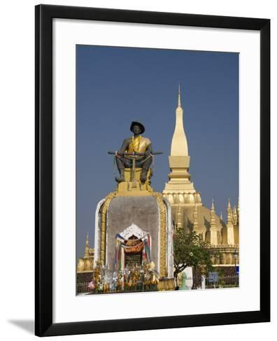 Statue of King Setthathirat with Pha That Luang in the Background, Vientiane, Laos, Indochina, Sout-Richard Maschmeyer-Framed Art Print