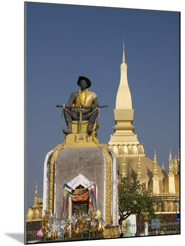 Statue of King Setthathirat with Pha That Luang in the Background, Vientiane, Laos, Indochina, Sout-Richard Maschmeyer-Mounted Photographic Print
